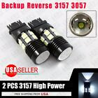 2X 3157 White 6000K Back Up Reverse Projector +12-SMD Chip LED Lights Bulbs