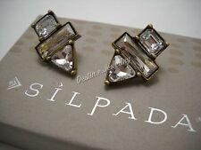 "NEW Designer SILPADA KR ""Crystal Clear"" Swarovski Earrings (KRP0022) $39MSRP"