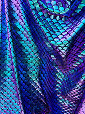 Fabric- Mermaid Two Tone Iridecent Fish Scales{Turquise Purple} ABFabric16