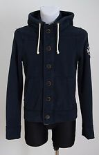 MEN HOLLISTER HOODIE COTTON BLEND ZIP & BUTTON CARDIGAN NAVY SIZE XS XSMALL VGC
