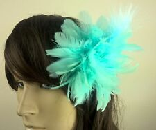 blue feather flower fascinator millinery hair clip wedding piece ascot race
