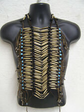 Genuine Buffalo Bone & Glass Bead Breastplate 40 row Breast Plate - Antique/Blue