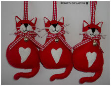 Cat Christmas Tree Ornament - Red Cat. Xmas/Holiday/Christmas felt cat