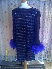 Drag Queen  Black/Silver hologram sequin SHORT dress with purple feathers  20/22