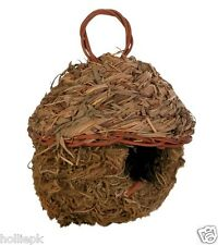 NATURAL GRASS BIRD CANARY FINICH NEST HANGS IN CAGE 11CM DIA