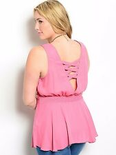 Size 1X TANK TOP SHIRT Womens Plus PINK ROSE Criss Cross Back Straps 1XL NWT NEW