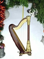 "GOLD & BROWN HARP MUSICAL INSTRUMENT 4.5"" CHRISTMAS ORNAMENT GIFT BOXED"