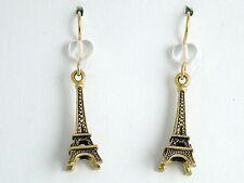 Gold tone Pewter &14kgf  Eiffel Tower dangle earrings-Paris , travel, La Tour