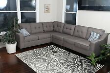 Large REVERSIBLE GREY BROWN 4pc Fabric Sectional Sofa Living Room Modern Couch