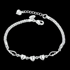 925 Sterling Silver Plated Women Charm Love Heart Beads Bracelet Bangle Jewelry