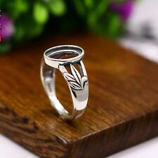 925Sterling Silver 8x11mm Oval Cabochon Semi Mount Engagement Ring Women Jewelry