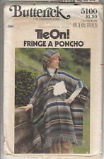 Vintage 70s Hippie Hooded PONCHO Cape Coat Pattern 8-10~Butterick 5100