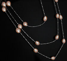"""Fashion women jewelry natural pink freshwater pearl metal chain necklace 46"""""""