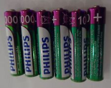 6 x PHILIPS 1000mAh AAA RECHARGEABLE BATTERIES READY TO USE