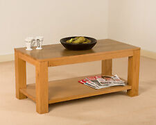 SOLID OAK SMALL COFFEE TABLE WITH SHELF