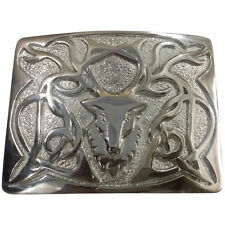 New Men's Stag Head Kilt Belt Buckle Chrome/Scottish Kilt Belt Buckles Stag Head