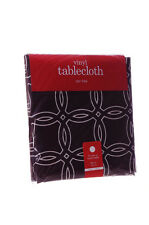 """Round Fall Vinyl Simple Modern Thanksgiving Table Cloth Brown Tablecloth 60"""" NEW"""