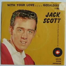 JACK SCOTT: GERALDINE / WITH YOUR LOVE carlton VG++ 45 & PS rockabilly