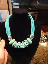 WOW! Pendant Necklace Turquoise Chips & Donuts, Silver Beads on Knit NWT!
