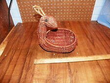 Vintage Wicker Figural Deer Basket - Red Woven Rattan Basket