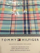 TOMMY HILFIGER TABLECLOTH OBLONG 60 X 102 IN. PASTEL PLAID PINK YELLOW BLUE NIP