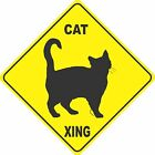 "12""x12"" plastic funny Black Cat sign xing Crossings animal cat"