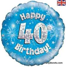 """18"""" BLUE HOLOGRAPHIC FOIL BALLOON """"HAPPY 40TH BIRTHDAY"""" CELEBRATION PARTY"""