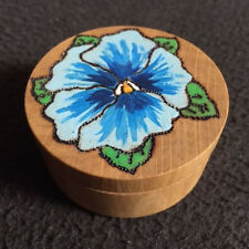 Pyrograved wooden hand crafted small Pill Box
