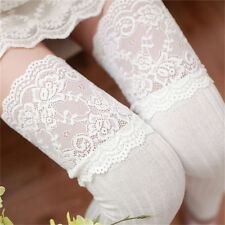 Women Warm Cotton Thigh High Stockings Knit Over Knee Lace Girls Long Socks HGUK