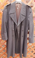 Vtg Euro Military Overcoat/Trenchcoat-Wool-48-Green-Cross Buttons-Mid Century