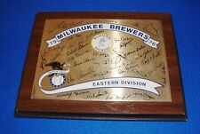 1976 Milwaukee Brewers Autographed Plaque Hank Aaron and More