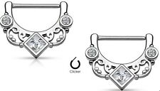 Square CZ  Floral Fan 316L Surgical Steel Nipple Clicker Ring Sold as a pair