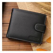 Black Men's Genuine Leather Cowhide Bifold Wallet Credit Card Holder Coin Purse