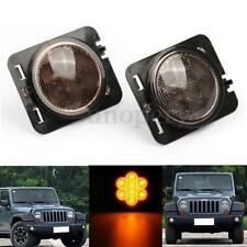2x Giallo Side Marker LED Light Fronte Indicatori Direzione Per Jeep Wrangler JK