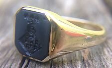 Antique SOLID 14k GOLD Banded Agate Crest Wax Seal Ring Hardstone Armorial RARE