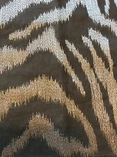 MPC67 High End Linen Embroidered Grey Silver  Zebra Exotic Fabric Remnant Sewing