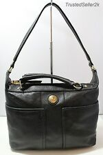 TOMMY HILFIGER T Group BLACK Pebble Leather Convertible Tote Satchel Bag $198