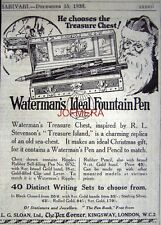 1926 Watermans IDEAL Fountain Pen Father Xmas AD #2: Small Original Print ADVERT