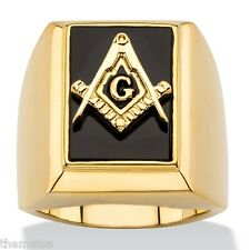 MASONIC MASON 14K GOLD ONYX SQUARE COMPASSES RING GP SIZE  8 9 10 11 12 13