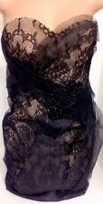 Marchesa Dress Very Small Blk Jeweled With Lace And Net /Strapless Size 0-2