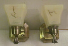 Pair RV 12 Volt Polish Brass Antique Look Wall Sconce Light Stone Glass Shade