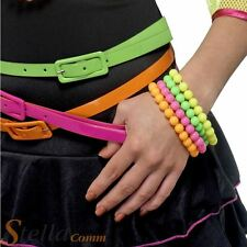 Fluorescent Neon Bracelet UV Fancy Dress Costume 4 String Beads Disco Accessory