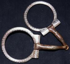 Unmarked Broken Horn Sterling Silver Engraved Western Don Dodge Ring Snaffle Bit