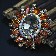 Fashion elegant rose gold plated oval brooches colorful rhinestone crystal pins