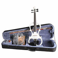 NEW Aileen 4/4 White Electric Violin VE008B + FOAMED CASE+BOW+HEADPHONE+ROSIN
