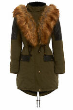NEW WOMENS KHAKI WINE WINTER FISHTAIL QUILTED FUR HOODED PARKA COAT SIZE 8-16