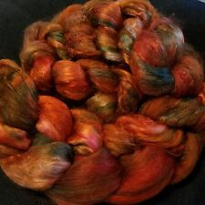 CRAZY Handpainted Silk Mulberry Bombyx Roving 100% brick A1 combed top *ON FIRE*
