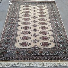 4x6 hand knotted oriental rug Beije 100% Wool Pile Caucasian Bokhara.