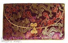 Asie : 3en1 3 Pochette Rectangle Chinois Asiatique BORDEAUX Dragon Phoenix Or