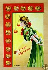 Halloween Greetings Artist Signed E.C. Banks Fantasy Postcard Bondage Apple Bob